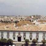 """Im Vordergrund maurische Walmdächer - rechts im Hintergrund die """"Skyline"""" von Faro"""